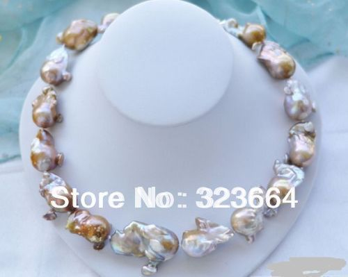 Hot Sell! LAVENDER BAROQUE KESHI REBORN PEARL NECKLACE hot sale new style 18 22mm lavender baroque coin keshi reborn pearl necklace