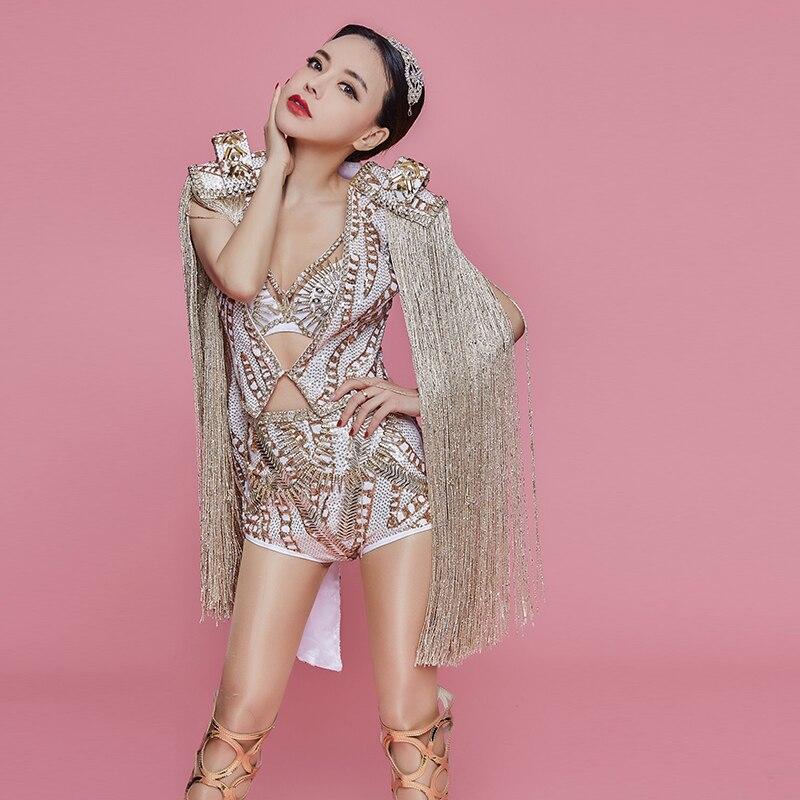 Discothèque femmes leader danseuse Costume Bar chanteur étoile Concert Performance vêtements brillant strass Bikini glands ensembles de manteau - 3