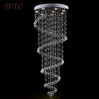 Modern K9 Large LED Spiral Living Room Crystal Chandeliers Light Fixtures For Staircase Stair Lamp