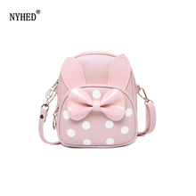 NYHED Summer Style Girls Small Bow Backpack Leather Candy Color Women Shoulder Bag Children Gift