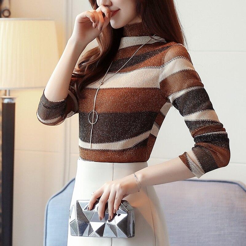 2018 fashion striped women shirts blouse turtleneck net yarn womens clothing long sleeve plus size feminine tops blusas 821E 30