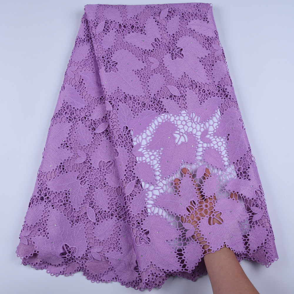Newest African Guipure Cord Lace Fabric High Quality French Water Soluble Cord Lace Fabric With Stones