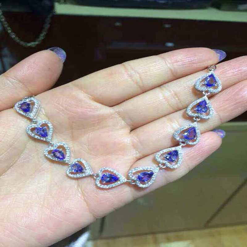 2017 Top Fashion Sale Qi Xuan_Fashion Jewelry_Blue Stone Bracelets_S925 Solid Silver Blue Stone Bracelet_Factory Directly Sales
