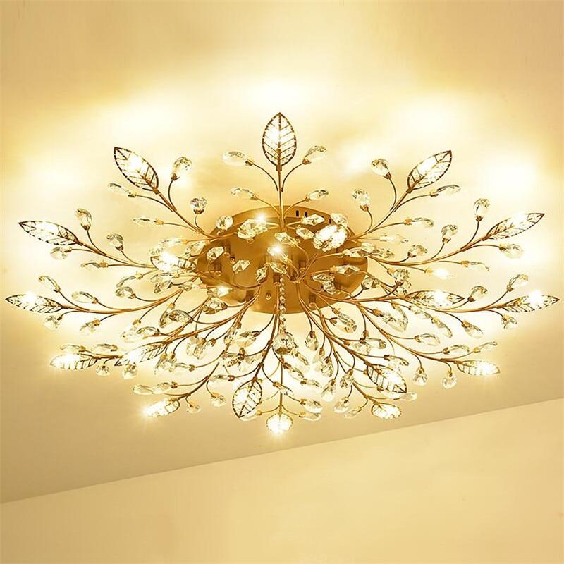 Europe Luxury Crystal Ceiling Chandelier Lighting Gold/Black Led Lustres For Bedroom Kitchen G9 Light Fixtures Chandeliers Lamp
