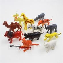 Hot 12PCS set Plastic Zoo Animal Figure Tiger Leopard Hippo Giraffe Kids font b Toy b