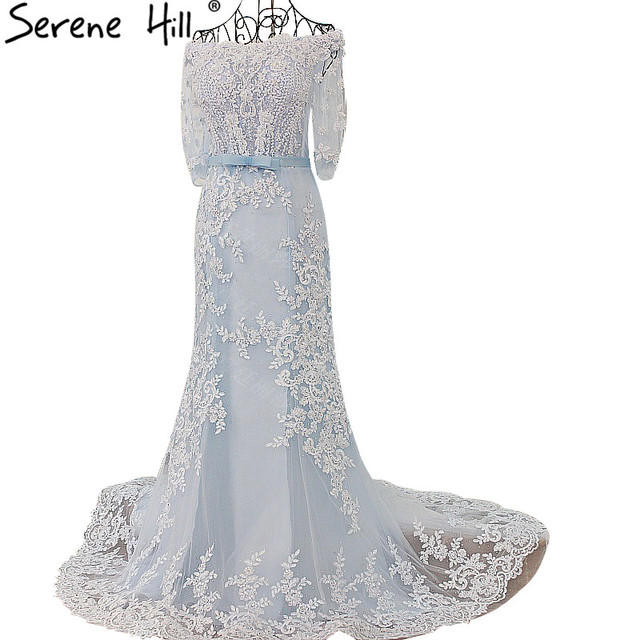 ee61c7da1002 Long Train Mermaid Wedding Dress Tiffany Blue Beading Crystal Tulle Half  Sleeves Bride Dress 2018 100% Real Picture