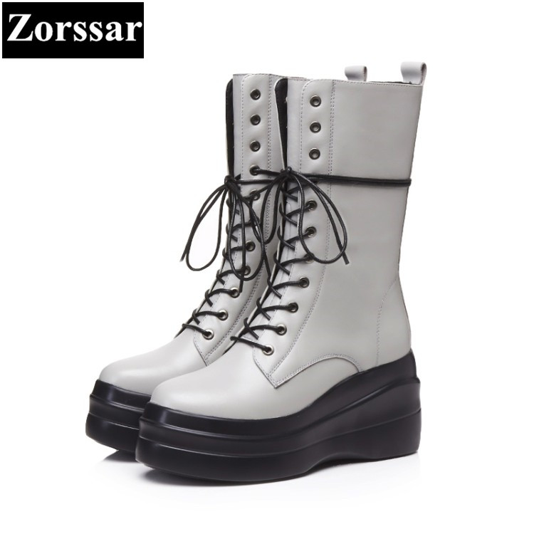 {Zorssar} 2017 NEW arrival Autumn winter Women Boots High heels platform Mid-Calf Motorcycle Boots fashion womens shoes heels double buckle cross straps mid calf boots