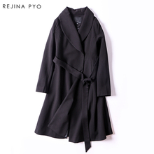 Rejina Pyo Women Elegant Solid Slim Vintage Trench coat Turn-down Collar Sashes 2017 Autumn New Arrival Long Female Trench Coat