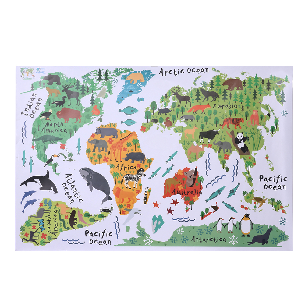 animal world map wall sticker ᗑ stickers stickers for ξ rooms rooms bedroom home