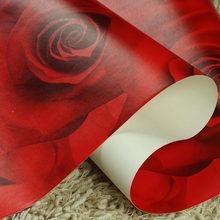 Hot Romantic Rose Wallpaper Big Flower For Bed room Sofa Home Decor Floral non-woven Purple Blue Red Morden Wall coverring