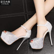 New Fashion Platform Shoes Woman Sexy Peep Toe Women Pumps Summer 14 CM High Heels Rhinestone Buckle Strap Women Sandals