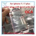 5/10 pcs Original de Vidro Exterior com Oriente Moldura do Quadro + OCA juntos para iphone 7 7g/7 além disso frente lente de vidro com quadro