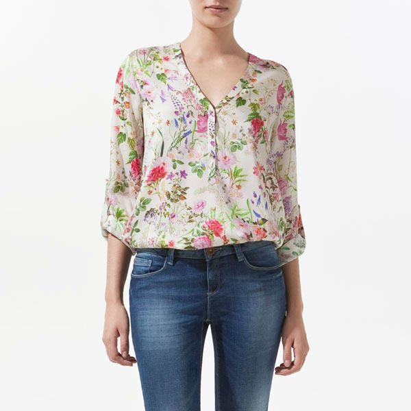 imixbox V-NECK ROLL UP SLEEVE FLORAL PRINTS LOOSE FIT CHIFFON SHIRT TOP W4041