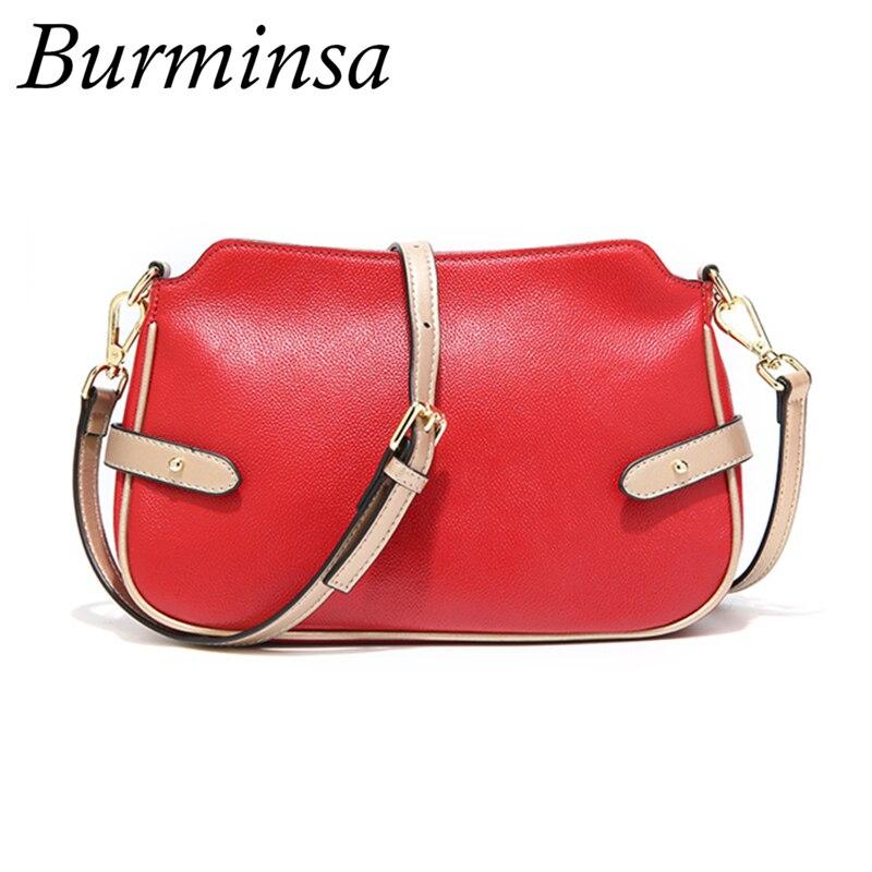 Burminsa 100 Genuine Leather Bags Women Messenger Bags Small Shoulder Crossbody Bags Summer Fashion Female Purse