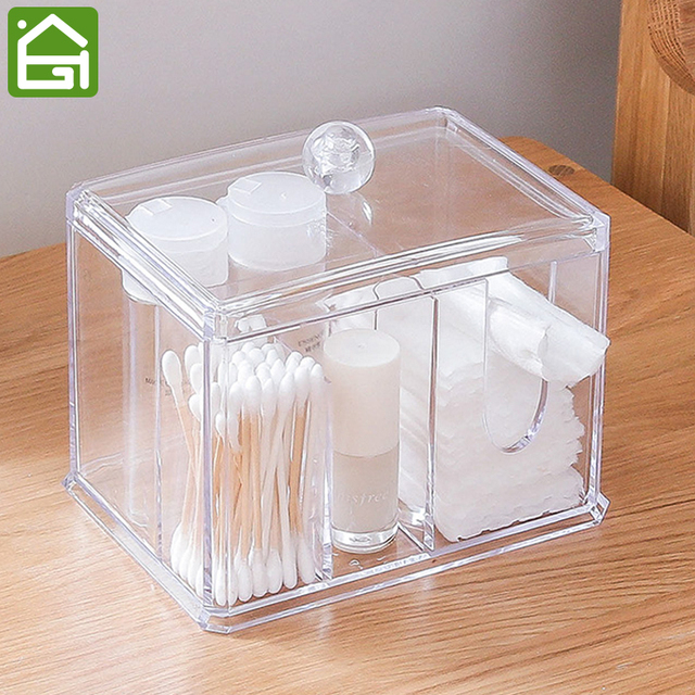 Acrylic Cosmetic Organizer Bathroom Makeup Organizer 3 Compartments For Cotton  Balls Cotton Swabs And Other Accessories