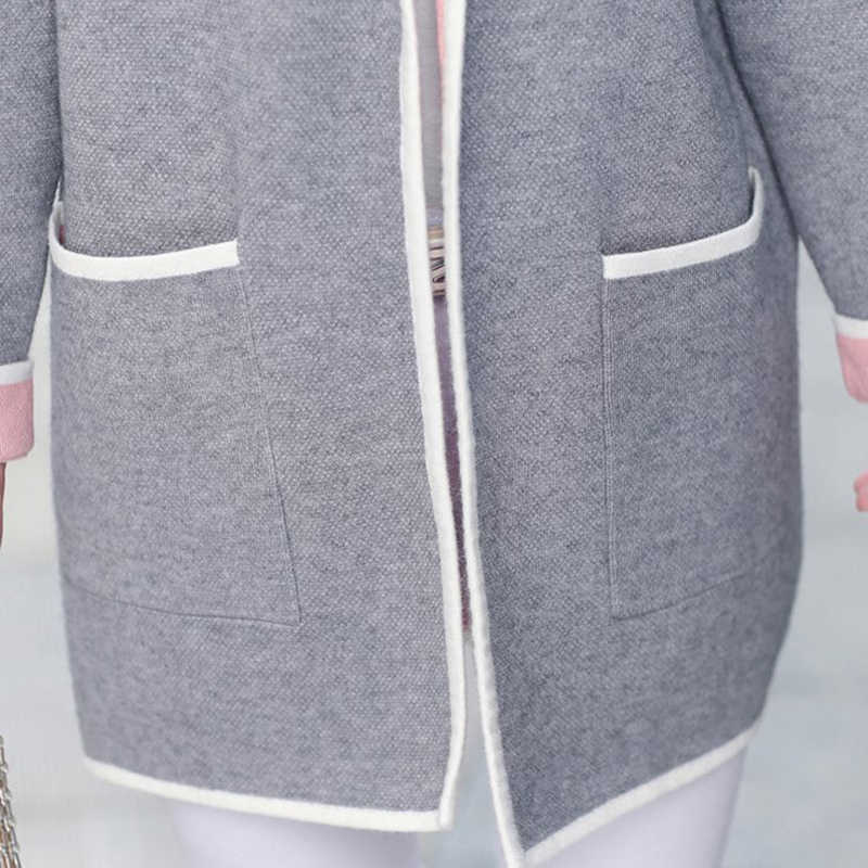 5XL 秋冬ジャケット女性コート 2019 プラスサイズニットカーディガンジャケット女性の上着カジュアルポケットコート Jaqueta Mujer