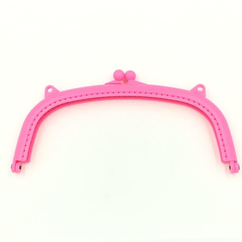 10Pcs High Quality Purse Bag Plastic Arch Frame Kiss Clasps Pink Buckle Clutch Handbag Handle 21x11cm