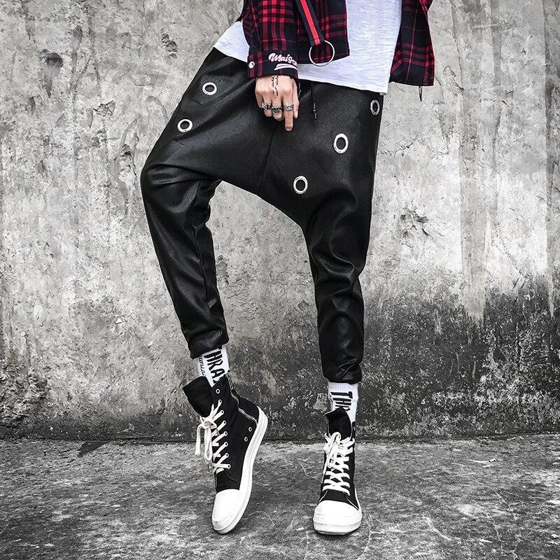 Pantalones Haren Estilista Hip Coreano Baggy Cuero Marea De No Metal 2019 Personalidad Negro Hombre Incorporar Club Hop Suelto EZq5cR