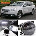 EeMrke Led DRL Para Subaru Outback 2010 2011 2012 2 em 1 Faróis de Neblina LED Lâmpada Com Q5 Lente Luzes de Circulação Diurna