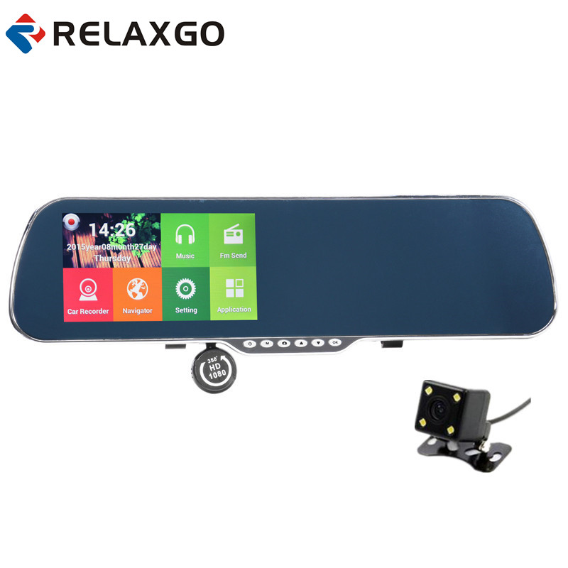 Relaxgo 5Android rearview mirror car camera gps navigation wifi car video recorder dual lens 1080P vehicle dvr parking dash cam new 5 android touch car dvr gps navigation rearview mirror car camera dual lens wifi dash cam full hd 1080p video recorder