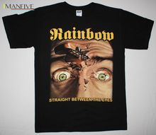 RAINBOW STRAIGHT BETWEEN THE EYES BLACKMORE DEEP PURPLE DIO NEW BLACK T-SHIRT