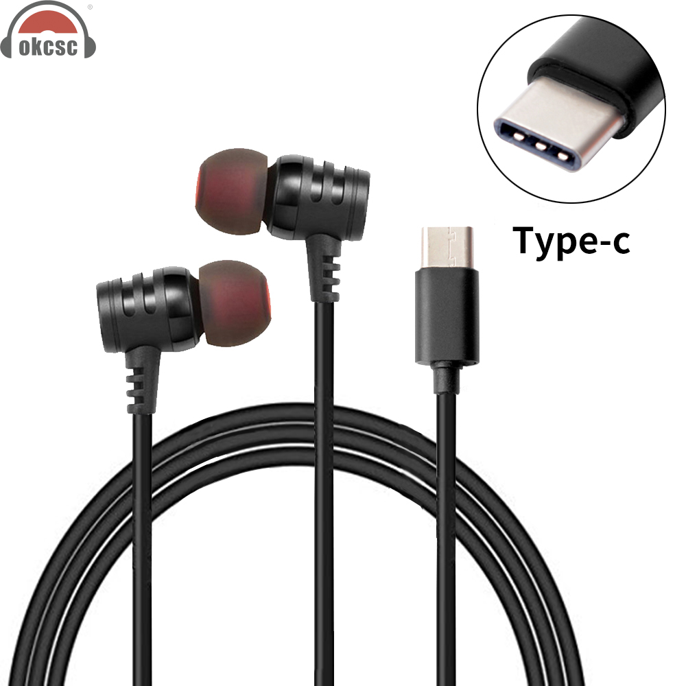 OKCSC USB Type c Plug Earphones With Mic In-Ear Earbuds Adapter Button Control Headsets for Samsung note 8 s8 xiaomi6 MIX2 letv usb type c metal hi fi stereo earphones wired control type c earbuds for huawei google moto z letv leeco le max 2 pro htc phone