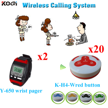 Order Taking System 2pcs Watch Pager Transmitter And 20pcs Waterproof Call Button Restaurant Reservation Table
