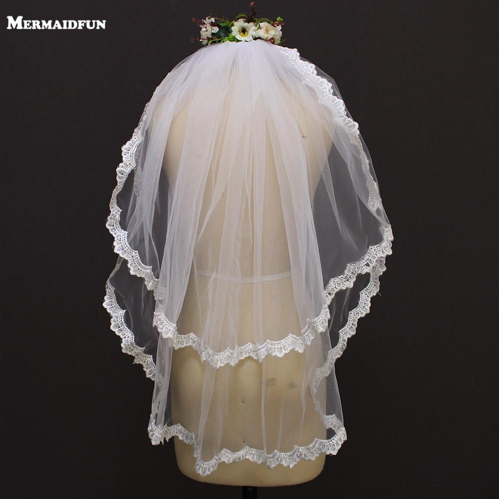 2019 to lag kant kant kort bryllup slør med kam 2 lag 0,8 meter tulle brude sløret til brudekjole veu de noiva