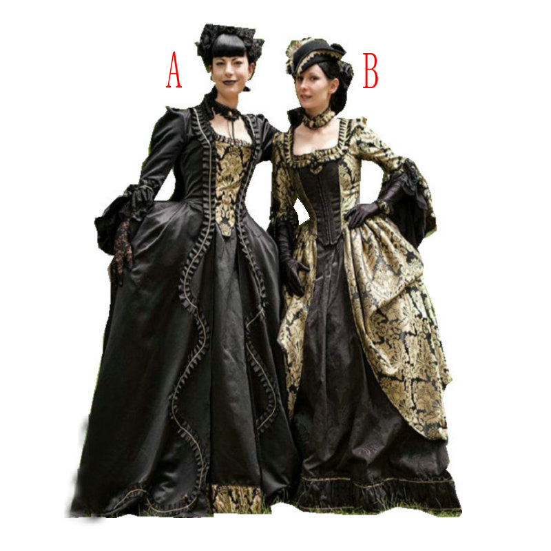 Historical Customer-made Black Vintage Costumes Renaissance Dress Steampunk dresses Gothic Cosplay Halloween Dresses C-1216 image