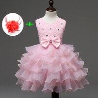 Thời trang Buổi Tối-dresses-cô gái Thiết Kế Mùa Hè Ren Cô Bé Gowns Trẻ Em Mặc Hoa Trang Phục Chính Thức Hồng Pageant Dresses đối với bé
