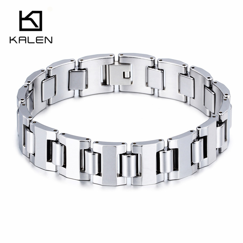627b32d04f3c Kalen High Polished Men Women Tungsten Steel Bracelets Health Care Hologram  Energy Bracelets Unisex Fashion Link Chain Bangles-in Hologram Bracelets  from ...