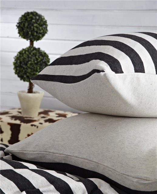 Black White Striped Bedding Sets Of Duvet Coveru0026Fitted Sheetu0026Pillowcase  High Quality Knitting Cotton Bed Linens Queen/Full Size