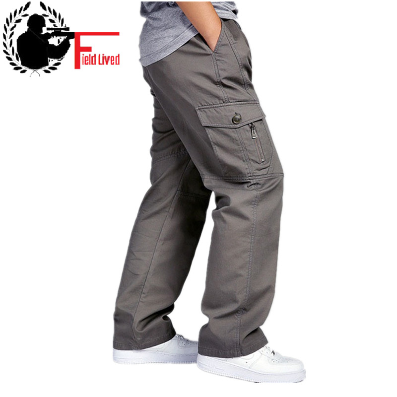 2019 Winter Men Plus Big Size 4XL 5XL 6XL Men's Cargo Pants Man Casual Military Army Green Tactical pants Trousers Male Grey-in Cargo Pants from Men's Clothing
