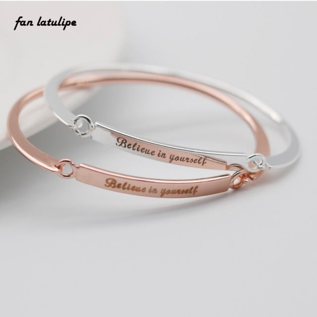 Cuff Armband Engraved Believe In Yourself Letters Bracelet Engraving Jewelry Personalized Initials Bracelets Bangle
