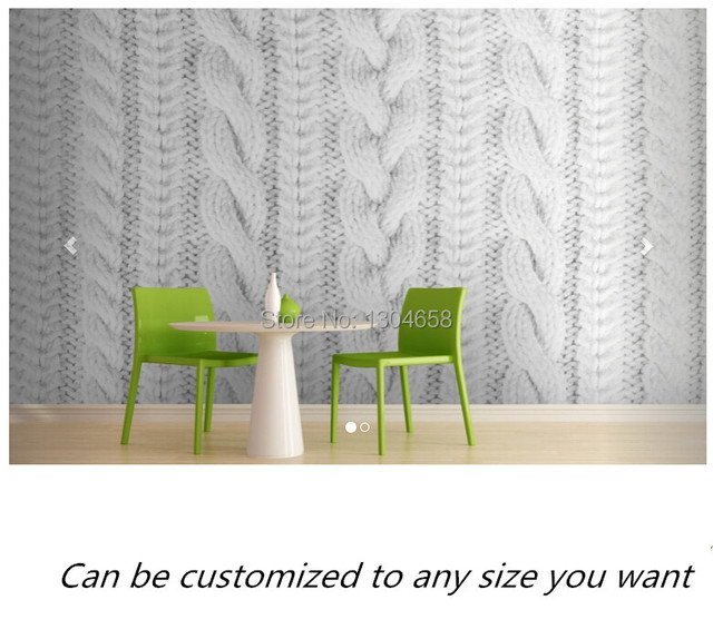 Free Shipping Custom Murals White Knit Texture Wall Mural Sofa
