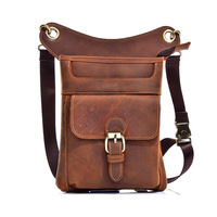 Genuine Leather Multipurpose Men Travel Mochila Crossbody Messenger Bag Hook Belt Waist Pack Drop Leg Bag Phone Case