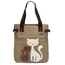 Canvas Handbag With Lovely Cats