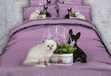 Cat 3D Dog print Bedding set Purple bed sheet Duvet cover sets bed in a bag sheets linen Super King Queen size twin full 4pcs