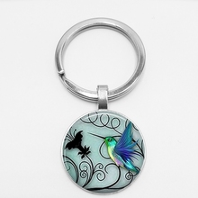 Handmade Blue Hummingbird Keychains Hummingbird Pendant Glass Pokemon Jewelry Art Glass Cabochon Keyring Jewelery hummingbird hummingbird ранец ортопедический 50тк super big trucks