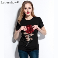 2017 New Top Quality Women Cotton T Shirts Summer Short Sleeve Sequins Flower Appliques Female O