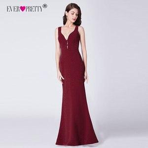 Image 1 - Ever Pretty с высоким разрезом, вечернее платье Формальное вечернее платье с блестками Элегантные Русалка V образным вырезом платья для вечеринки с открытой спиной халат De Soiree EP07417BD