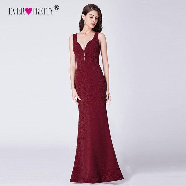 Ever Pretty с высоким разрезом, вечернее платье Формальное вечернее платье с блестками Элегантные Русалка V образным вырезом платья для вечеринки с открытой спиной халат De Soiree EP07417BD