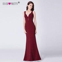 Kiedykolwiek dość długa burgundowa formalna suknia z brokatem elegancka syrenka V Neck Backless sukienki na przyjęcie Robe De Soiree EP07417BD