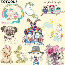 ZOTOONE Cute Dog Unicorn Zebra Animal Patches Heat Transfers Cartoon Clothes Stickers Iron on for Clothing Child DIY C