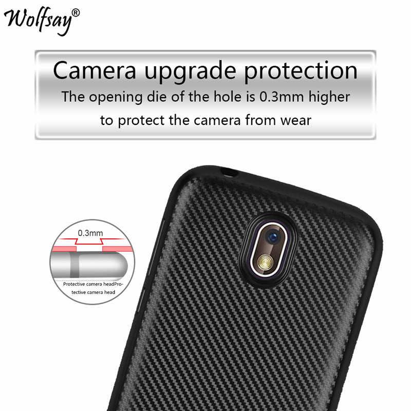 "Wolfsay S Topias Nokia 1 Case 4.5 ""Shockproof Carbon Fiber Tekstur Silikon Telepon Shell untuk Nokia 1 Cover untuk nokia1 2018 Case"