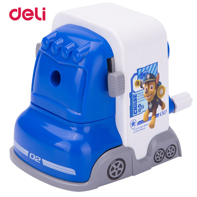 Deli Bus PAW Patrol Cartoon Mechanical Pencil Sharpener Stationary Office Hand-operated Manual Sharpener School Supplies for Kid 1 pcs deli 0611happy cartoon mechanical pencil sharpener light hand roll pencil sharpener wholesale office and school stationary