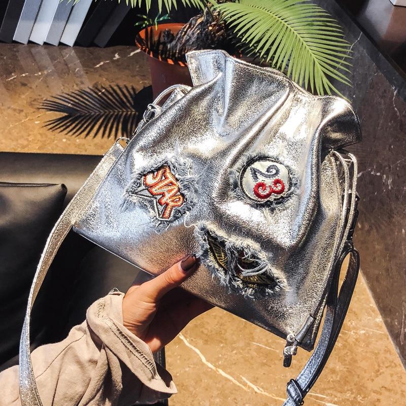 Trendy Embroidered Emblem Badge Fashion Pu Leather Bucket Design Ladies Casual Shoulder Bag Tote Women's Crossbody Messenger Bag 3