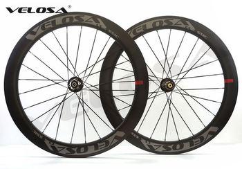 Velosa 60 drogi hamulec tarczowy węgla koła rowerowe 700C rower szosowy koła cyclocross koła 60mm clincher rurowe wszystkie koła drogowego tanie i dobre opinie 20 24 Glossy Matte Rowery drogowe CARBON Velosa Disc 50