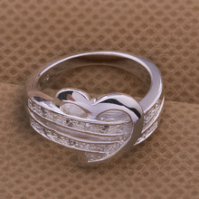 Silver Plated Bling Heart Love Ring Jewelry For Women