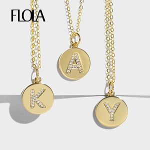 FLOLA Girls Initial Letter Necklace Gold 26 Letters Long Charm Necklaces Pendants CZ Zirconia Gold Fashion Jewelry Gifts nkep15